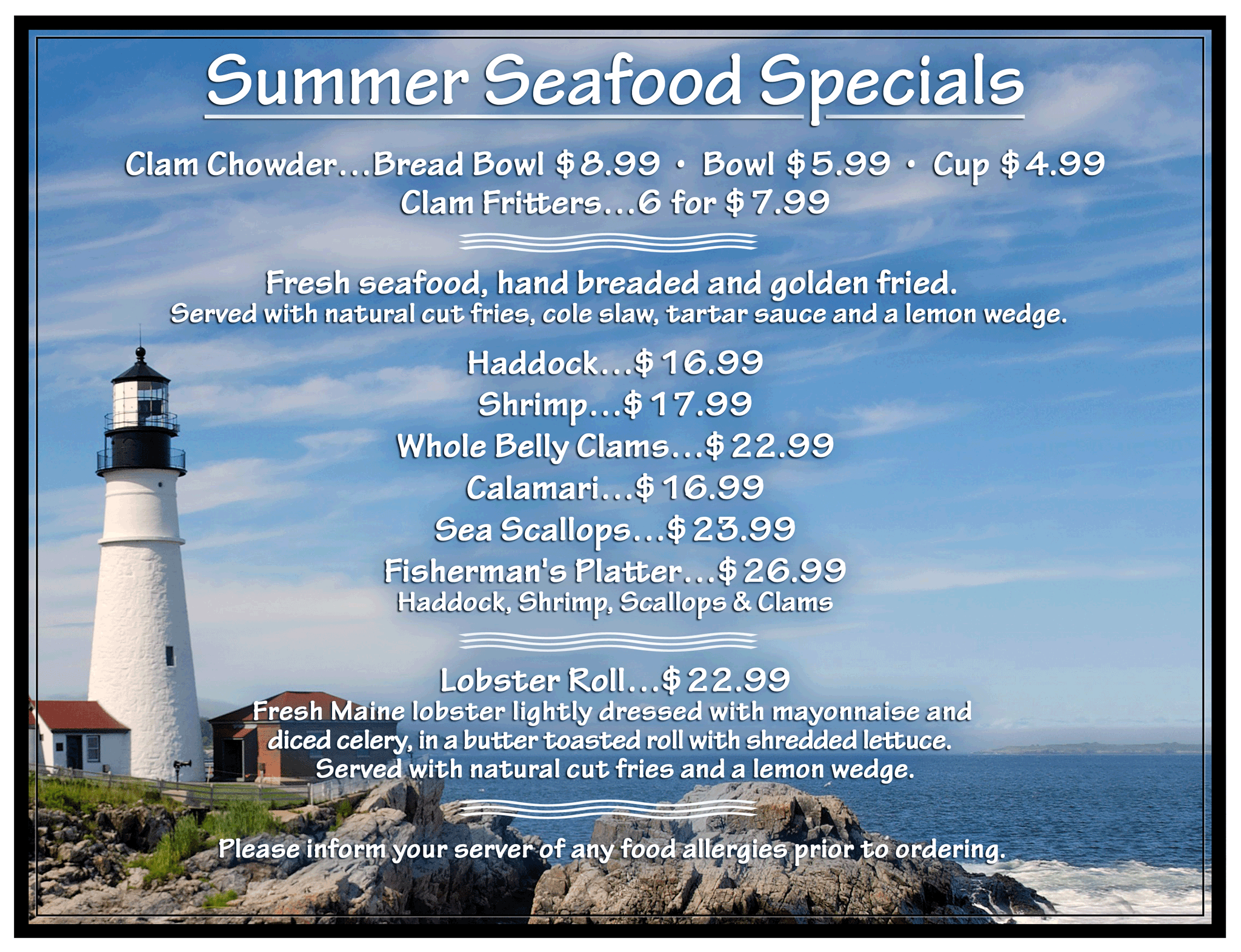 seafood specials 19 FRONT 2 - Summer Seafood Menu