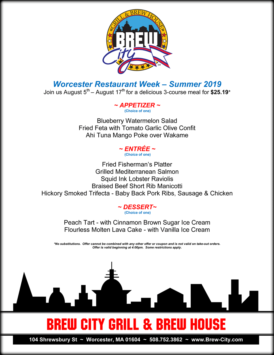 Brew City WRW Summer 19 - Worcester Restaurant Week Summer 2019